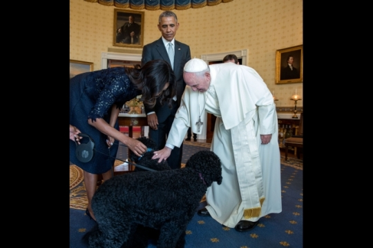 President Barack Obama and First Lady Michelle Obama introduces Pope Francis to their family pets Bo and Sunny in the Blue Room following the State Arrival Ceremony on the South Lawn of the White House, Sept. 23, 2015. (Official White House Photo by Pete Souza)