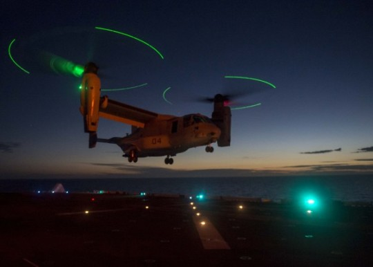 151019-N-AX638-056 MEDITERRANEAN SEA (Oct. 19, 2015) An MV-22 Osprey lands on the flight deck of the amphibious assault ship USS Kearsarge (LHD 3) Oct. 19, 2015. Kearsarge, deployed as part of the Kearsarge Amphibious Ready Group, is conducting naval operations in the U.S. 6th Fleet area of operations in support of U.S. national security interests in Europe. (U.S. Navy Photo by Mass Communication Specialist Seaman Tyler Preston/Released)