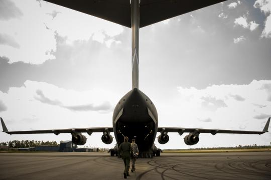 Aeromedical evacuation members load a patient onto a West Virginia Air National Guard C-17 Globemaster III during Exercise Southern Strike 16 at Stennis International Airport in Hancock County, Miss., Oct. 28, 2015. The Air National Guard's Combat Readiness Training Center hosts the multiservice training exercise, which runs through Nov. 6, 2015. U.S. Air Force photo by Staff Sgt. Jamal D. Sutter