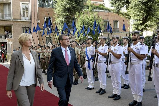 U.S. Defense Secretary Ash Carter and Italian Defense Minister Roberta Pinotti review the honor detachment at the Quirinal Palace in Rome, Oct. 7, 2015. Carter is on a five-day trip to Europe to attend the NATO Defense Ministerial Conference in Brussels, and meet with counterparts in Spain, Italy and the United Kingdom. DoD photo by U.S. Army Sgt. 1st Class Clydell Kinchen