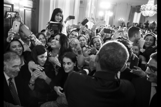 President Barack Obama greets audience members during a reception for Hispanic Heritage Month and the 25th Anniversary of the White House Initiative on Educational Excellence for Hispanics, in the East Room of the White House, Oct. 15, 2015. (Official White House Photo by Pete Souza)
