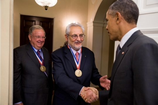 President Barack Obama greets the 2014 Enrico Fermi Award recipients Claudio Pellegrini and Charles Shank, left, to the Oval Office, Oct. 20, 2015. The Fermi Award is a Presidential award and one of the oldest and most prestigious science and technology honors bestowed by the U.S. Government. (Official White House Photo by Pete Souza)