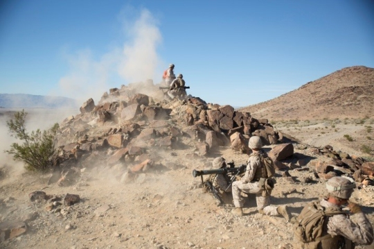 Marines with Charlie Company, 1st Battalion, 8th Marine Regiment fire AT-4 Rocket Launchers for the duration of a live fire and maneuver exercise during the Integrated Training Exercise 1-16 aboard Marine Corps Air Ground Combat Center, Twentynine Palms, Calif., Oct. 23-24. During ITX, Marines demonstrate core infantry mission essential tasks while conducting offensive and defensive stability operations. (Marine Corps photo by Cpl. Tyler A. Andersen/Released)