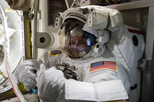 Scott Kelly prepares for space walk.  Photo Courtesy:  NASA