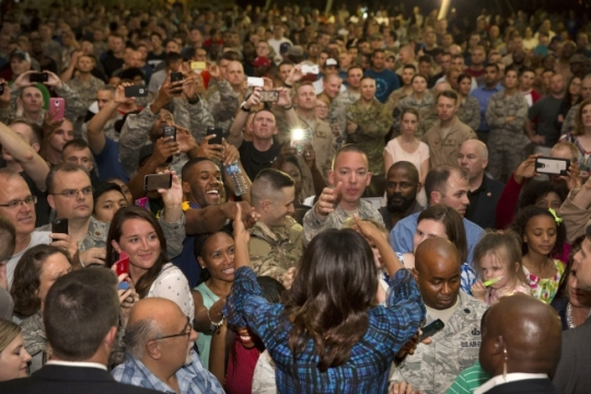 First Lady Michelle Obama, in support of the Joining Forces initiative, greets members of the military following remarks at Al Udeid Air Base in Qatar, Nov. 3, 2015. (Official White House Photo by Amanda Lucidon)