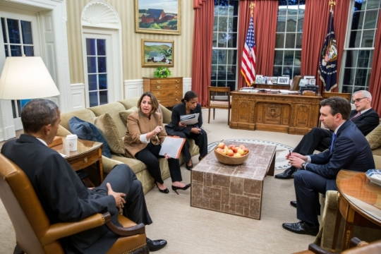 President Barack Obama is briefed on the Paris terrorist attacks by Lisa Monaco, Assistant to the President for Homeland Security and Counterterrorism, in the Oval Office, Nov. 13, 2015. National Security Advisor Susan E. Rice, Chief of Staff Denis McDonough and Press Secretary Josh Earnest attend. (Official White House Photo by Pete Souza)