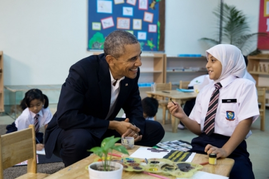 President Barack Obama visits a Dignity for Children Foundation classroom in Kuala Lumpur, Malaysia, Nov. 21, 2015. (Official White House Photo by Pete Souza) (Official White House Photo by Pete Souza)