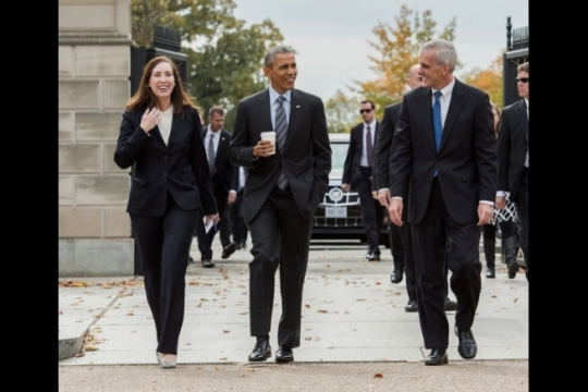 President Barack Obama walks with Katie Beirne Fallon, Director of Legislative Affairs, and Chief of Staff Denis McDonough en route to the Metropolitan Club in Washington, D.C., Oct 26, 2015. (Official White House Photo by Pete Souza)