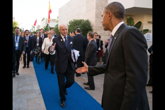 President Obama with France Foreign Minister Laurent Fabius