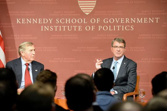 Defense Secretary Ash Carter, right, discussed national defense issues and the force of the future during a moderated conversation at the John F. Kennedy Jr. Forum at Harvard University's Institute of Politics in Cambridge, Mass., Dec. 1, 2015. Graham Allison, left, director of the Belfer Center and Douglas Dillon Professor of Government, served as the moderator. DoD photo by U.S. Army Sgt. 1st Class Clydell Kinchen