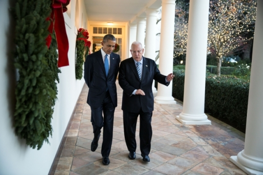 President Barack Obama and President Reuven Rivlin of Israel walk on the Colonnade of the White House, following their participation in a Hanukkah Reception in the East Room, Dec. 9, 2015. (Official White House Photo by Pete Souza)
