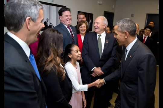 President Barack Obama greets Kenmore Middle School eighth-grader Sofia Rios and the other stage participants prior to a bill signing ceremony for S. 1177, Every Student Succeeds Act, in the Eisenhower Executive Office Building South Court Auditorium, Dec. 10, 2015. Standing with Rios from left, Education Secretary Arne Duncan; Lily Eskelsen García, President, National Education Association; Todd Rokita, R-Ind.; Suzanne Bonamici, D-Ore.; and House Education Committee Chairman John Kline, R-Minn. (Official White House Photo by Pete Souza)