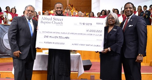 Alfred Street Pastor Howard-John Wesley with James McNeil, Board of Trustees, Chair and Pat Johnson, Deacon Chair. Photo Courtesy: Blacknews.com
