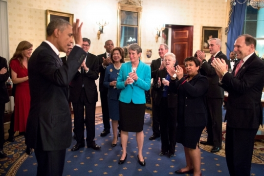 President Barack Obama acknowledges applause from Cabinet members during a reception in the Blue Room of the White House after his State of the Union address at the U.S. Capitol in Washington, D.C., Jan. 12, 2016. (Official White House Photo by Pete Souza)