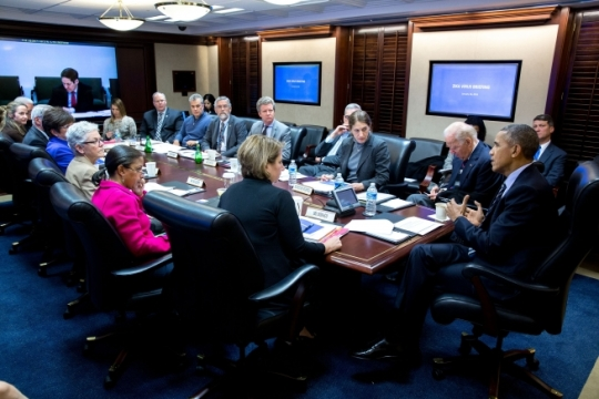 President Barack Obama convenes a meeting on the Zika virus, in the Situation Room of the White House, Jan. 26, 2016. (Official White House Photo by Pete Souza)