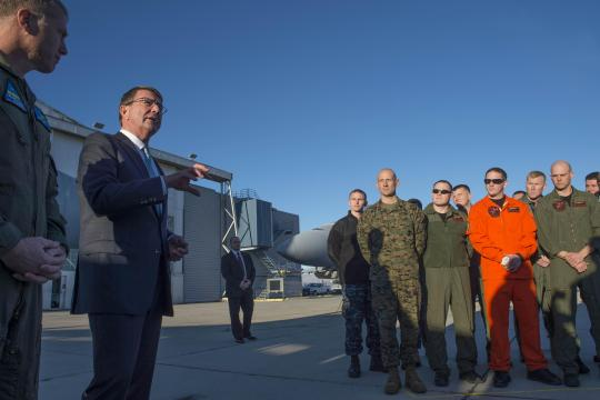 Defense Secretary Ash Carter speaks with troops at Naval Air Weapons Station China Lake, Calif, Feb. 2. 2016. Carter is traveling this week to meet with service members and other members of the defense community to preview the FY17 defense budget and its impact on the military. DoD photo by Navy Petty Officer 1st Class Tim D. Godbee