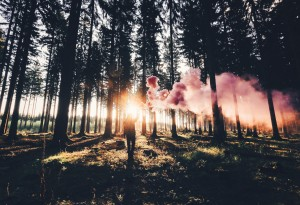 Man Holding Distress Flare In Forest.  Photo Courtesy:  Oprah Book Club 2.0 / OWN Mag.