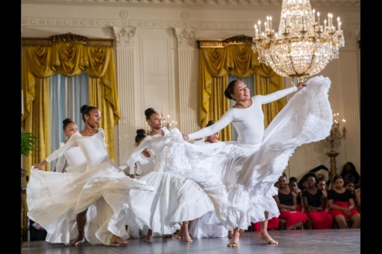Students perform following a day-long dance workshop in celebration of Black History Month highlighting the contributions African American women have made to dance, in the East Room of the White House, Feb. 8, 2016. (Official White House Photo by Amanda Lucidon)