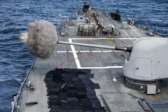 The USS Gonzalez conducts a live-fire exercise using an MK 45 5-inch gun in the Indian Ocean, Feb. 5, 2015. The guided-missile destroyer is supporting maritime security operations and theater security cooperation efforts in the U.S. 5th Fleet area of operations. U.S. Navy photo by Petty Officer 3rd Class Pasquale Sena