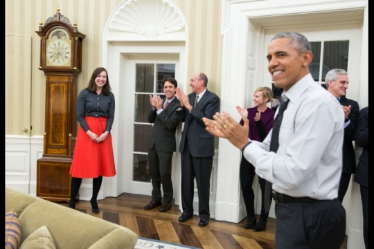 President Barack Obama and Senior Staff gather to celebrate Katie Bernie Fallon, left, the departing Director of Legislative Affairs, in the Oval Office, Feb. 9, 2016. (Official White House Photo by Pete Souza)