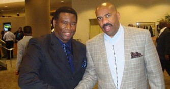 Motivational speaker Orrin Hudson, pictured with TV/ radio personality Steve Harvey. Photo Courtesy: Blacknews.com