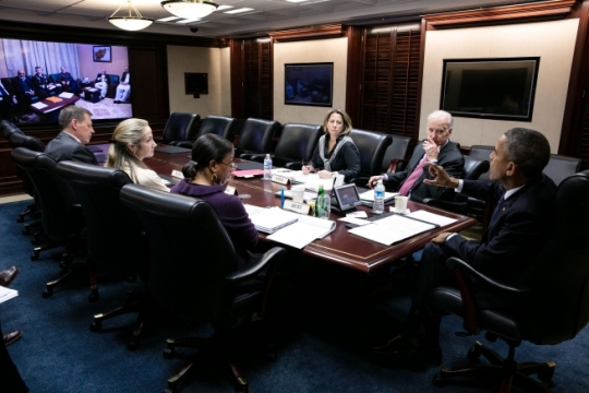 President Barack Obama, with Vice President Joe Biden, holds a secure video teleconference with President Ashraf Ghani and Chief Executive Officer Abdullah Abdullah of Afghanistan in the Situation Room of the White House, March 4, 2016. Also attending, from left, are Peter Lavoy, Senior Director for South Asian Affairs; Avril Haines, Deputy National Security Advisor; National Security Advisor Susan E. Rice and Lisa Monaco, Assistant to the President for Homeland Security and Counterterrorism. (Official White House Photo by Pete Souza)