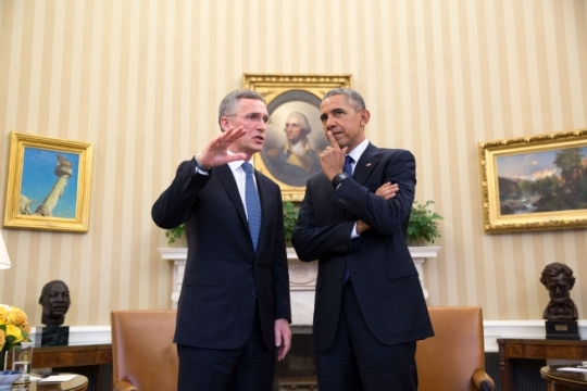 President Barack Obama talks with NATO Secretary General Jens Stoltenberg following their bilateral meeting in the Oval Office, April 4, 2016. (Official White House Photo by Pete Souza)
