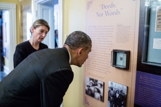 President Barack Obama and Page Harrington, Executive Director of the Sewall-Belmont House and Museum, view artifacts from the Sewall-Belmont House and Museum at the Belmont-Paul Women's Equality National Monument in Washington, D.C., April 12, 2016. (Official White House Photo by Pete Souza)