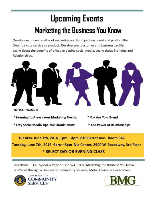 Marketing the Business You Know Flyer (Metro)