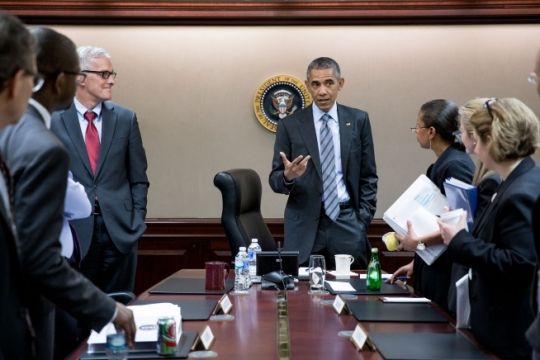President Barack Obama concludes a National Security Council meeting in the Situation Room of the White House in advance of his trip to Saudi Arabia, the United Kingdom and Germany, April 19, 2016. (Official White House Photo by Pete Souza)