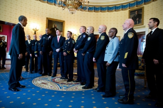 President Barack Obama addresses the Medal of Valor recipients in the Blue Room prior to the Medal of Valor ceremony in the East Room of the White House, May 16, 2016. (Official White House Photo by Pete Souza)