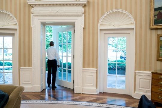 President Barack Obama walks out of the Oval Office to the White House Colonnade, May 19, 2016. (Official White House Photo by Pete Souza)