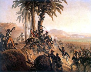 Battle at San Domingo, a painting by January Suchodolski, depicting a struggle between Polish troops in French service and the Haitian rebels.  Photo Courtesy:  Wikipedia