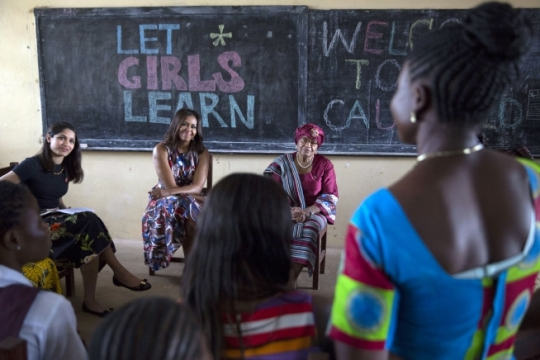 First Lady Michelle Obama participates in a roundtable discussion with Freida Pinto and students, in support of the Let Girls Learn initiative, at R.S. Caulfield Senior High School in Unification Town, Liberia, June 27, 2016. (Official White House Photo by Amanda Lucidon) First Lady Michelle Obama in Unification Town, Liberia