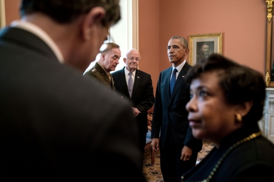 President Barack Obama waits backstage at the Department of the Treasury before delivering a statement after a National Security Council meeting on the investigation into the mass shooting in Orlando, Fla., and to review efforts to counter-ISIL. Waiting with the President are, from left, Treasury Secretary Jacob Lew; Gen. Joseph Dunford, Chairman of the Joint Chiefs of Staff; James Clapper, Director of National Intelligence and Attorney General Loretta Lynch, June 14, 2016. (Official White House Photo by Pete Souza)