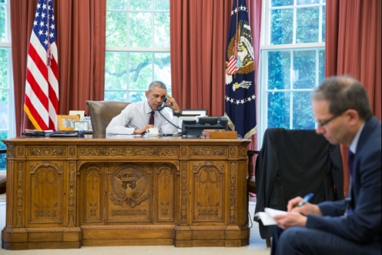 President Barack Obama talks on the phone in the Oval Office with President Recep Tayyip Erdogan of Turkey, June 15, 2016. Charles Kupchan, National Security Senior Director for European Affairs, is seated at right. President Erdogan offered condolences for the terrorist attack in Orlando, Fla. Both leaders reaffirmed their shared commitment to combat all forms of violent extremism. (Official White House Photo by Pete Souza)