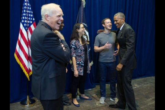 President Barack Obama jokes backstage with Mark Zuckerberg of Facebook, Dr. John L. Hennessy (left), President of Stanford University and other panelists before the 2016 Global Entrepreneurship Summit at Stanford Memorial Auditorium at Stanford University, Calif., June 24, 2016. (Official White House Photo by Pete Souza)