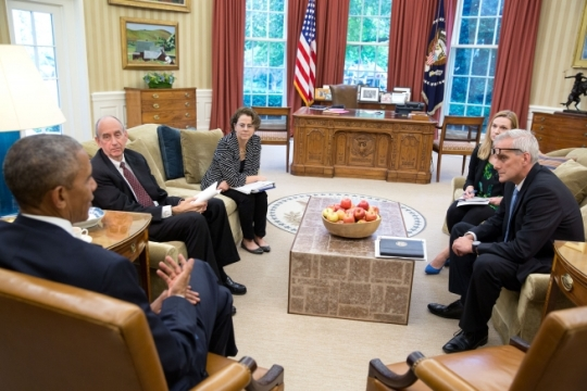President Barack Obama meets in the Oval Office with (from left): Neil Eggleston, Counsel to the President; Cecilia Muñoz, Director of the Domestic Policy Council; Kristie Canegallo, Deputy Chief of Staff; and Chief of Staff Denis McDonough, before making a statement about the Supreme Court immigration ruling, June 23, 2016. (Official White House Photo by Pete Souza)