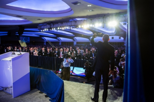 President Barack Obama waves to the crowd after delivering remarks during the SelectUSA Investment Summit at the Washington Hilton in Washington, D.C., June 20, 2016. (Official White House Photo by Pete Souza)