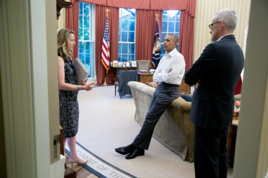 President Barack Obama meets with Amy Pope, Deputy Homeland Security Advisor, who briefs him and Chief of Staff Denis McDonough on the potential cases of non-travel related Zika announced by the Florida Department of Health earlier today, in the Oval Office, July 27, 2016. (Official White House Photo by Pete Souza)