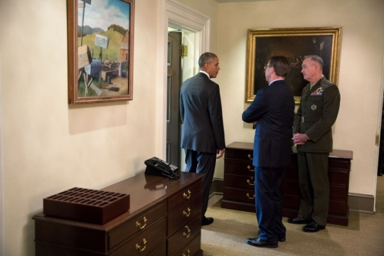 President Barack Obama talks with Defense Secretary Ashton Carter and Gen. Joseph F. Dunford, Jr., Chairman of the Joint Chiefs of Staff, outside the Outer Oval Office following a statement to the press on Afghanistan, July 6, 2016. (Official White House Photo by Pete Souza)