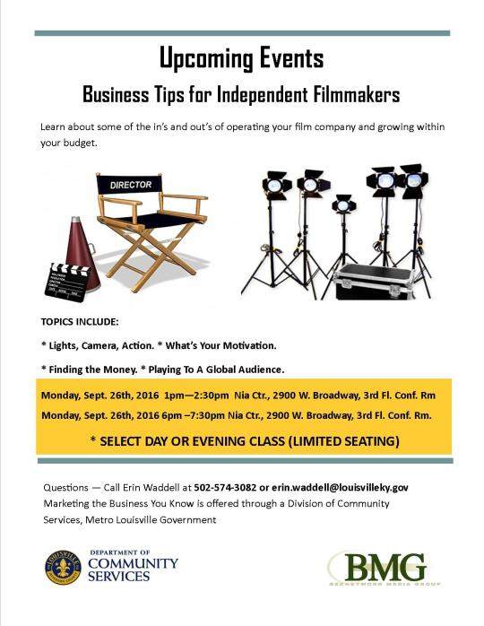 Business Tips for Independent Filmmakers Flyer (Metro)Sept. 26, 2016