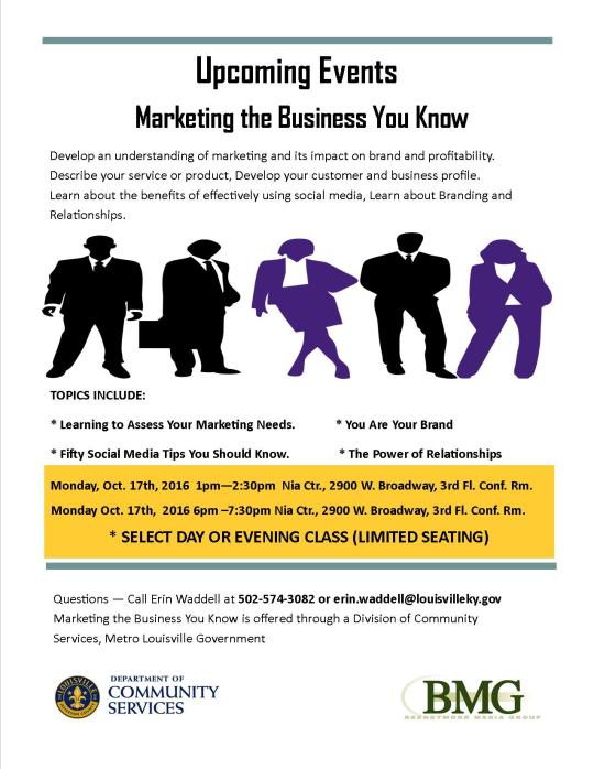 Marketing the Business You Know Flyer (Metro) Oct. 17, 2016