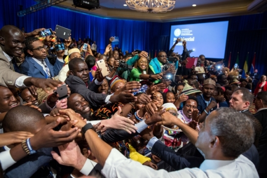 President Barack Obama greets audience members after participating in a Q&A during the Young African Leaders Initiative (YALI) town hall at the Omni Shoreham Hotel in Washington, D.C., Aug. 3, 2016. (Official White House Photo by Pete Souza)