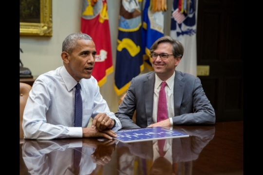 President Barack Obama comments on a Census Bureau report of record household income growth in 2015 during a video taping with Council of Economic Advisers Chairman Jason Furman in the Roosevelt Room of the White House, Sept. 13, 2016. (Official White House Photo by Pete Souza)