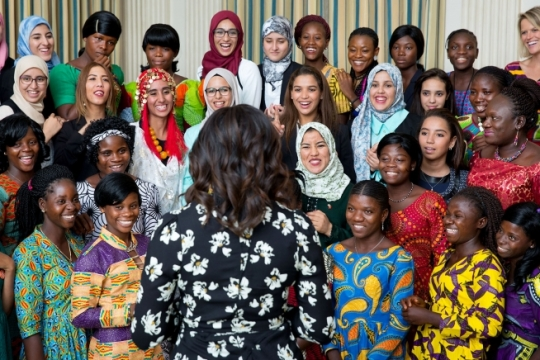 "First Lady Michelle Obama, in celebration of International Day of the Girl and Let Girls Learn, speaks to a group of girls from Morocco and Liberia in the State Dining Room, prior to a screening with the U.S. Department of State's Office of Global Women's Issues, of the new CNN Film ""We Will Rise: Michelle Obama's Mission to Educate Girls Around the World,"" in the East Room of the White House, Oct. 11, 2016. The First Lady visited with the girls earlier this year on a trip to their countries. (Official White House Photo by Amanda Lucidon)"