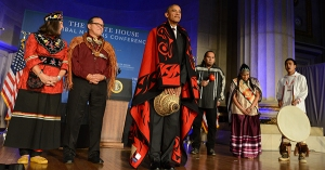 President Obama participates in a blanketing ceremony at the White House Tribal Nations Conference with representatives from 567 federally-recognized tribes. Photo credit: U.S. Dept of the Interior